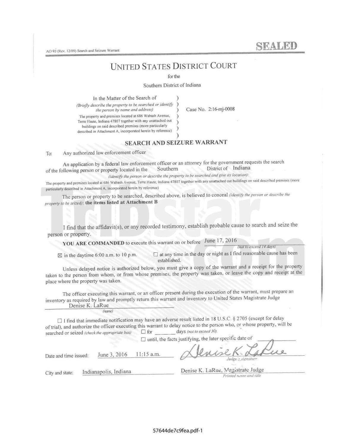 FBI Search Warrant | | tribstar com