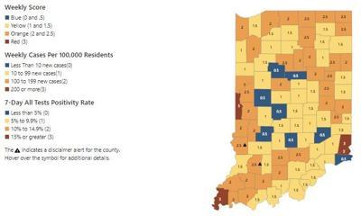 State map showing metrics