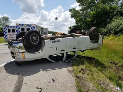 INDOT truck flipped in Tuesday crash