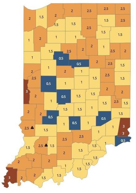 Hoosier COVID-19 map grows darker with risk