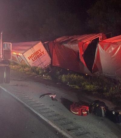 Three semis crash on I-70 Morgan County