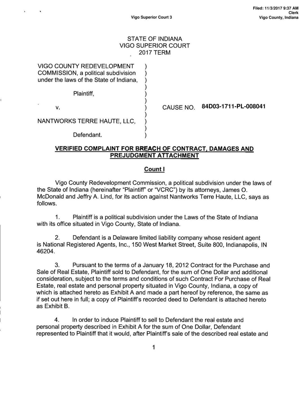 Dorsett Terre Haute >> Nantworks Complaint | | tribstar.com