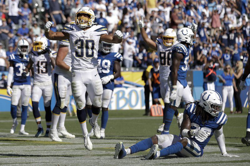 Ekeler scores 3 TDs for Chargers as Indy is felled by missed opportunities