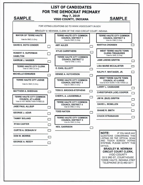 2019 Vigo County Democratic Primary Ballot | | tribstar.com