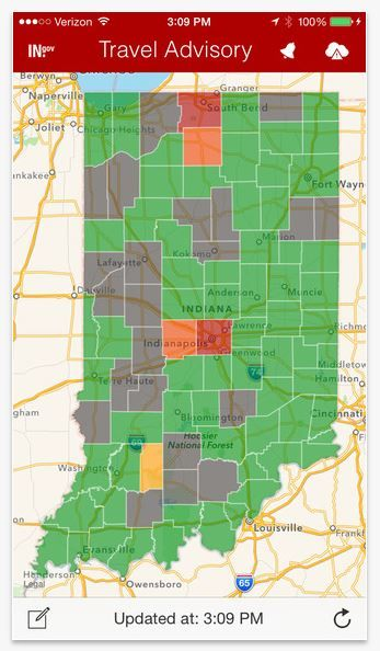 Indiana Road Advisory Map on homeland security weather map, global warming flood map, indiana bmv county numbers, indiana travel advisory, indiana county code numbers, indiana city and county list, indiana snow advisory levels, dhs travel map, indiana swimming pools, tn dcs regional map,