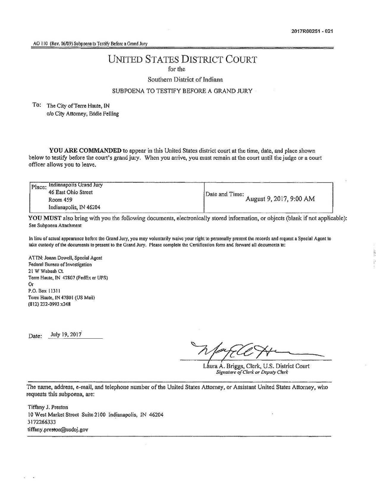 City Document Grand Jury Subpoena Tribstar Com