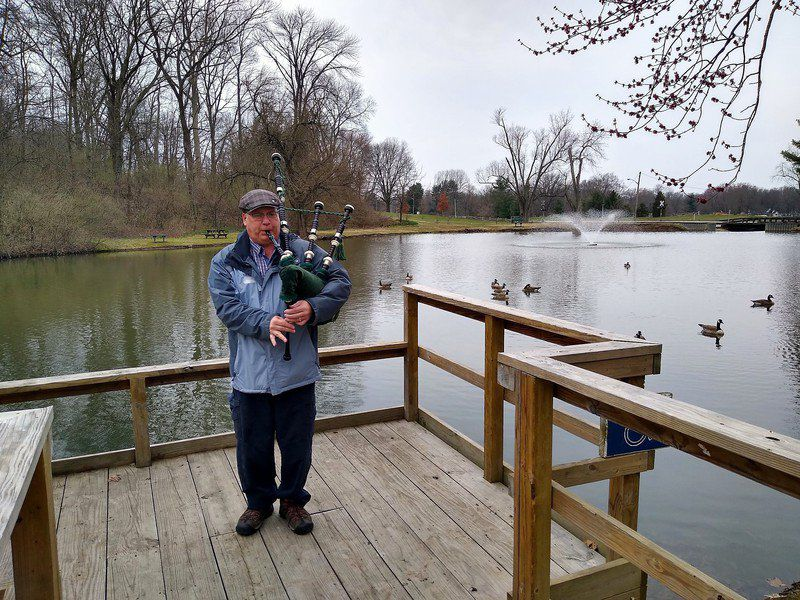 Mark Bennett A Musical Diversion Bagpipes By The Pond At Deming Park News Columns Tribstar Com
