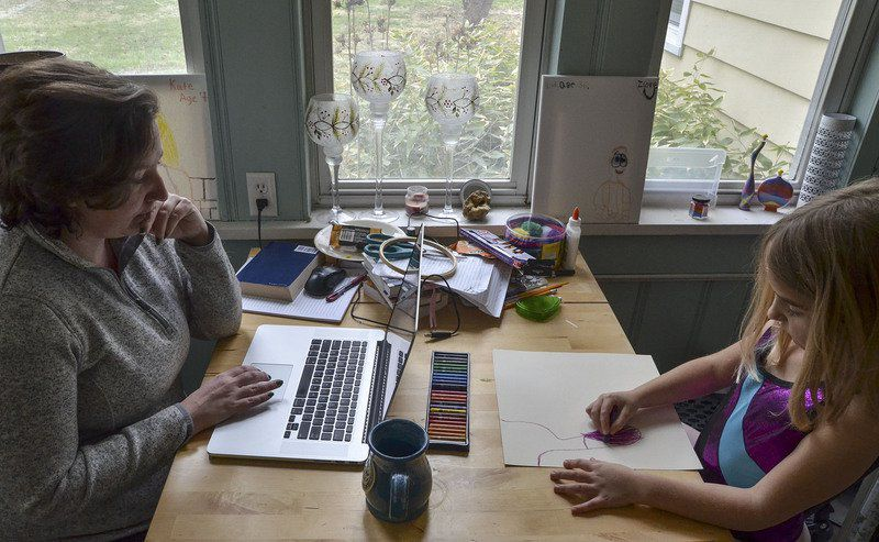 Now, mom's working at home -- and a teacher