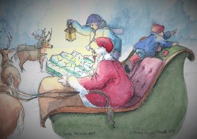 Art guild member's Santa art captures season's joy