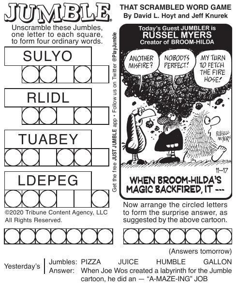 Comics Puzzles Tuesday Nov 17 2020 Features Tribstar Com