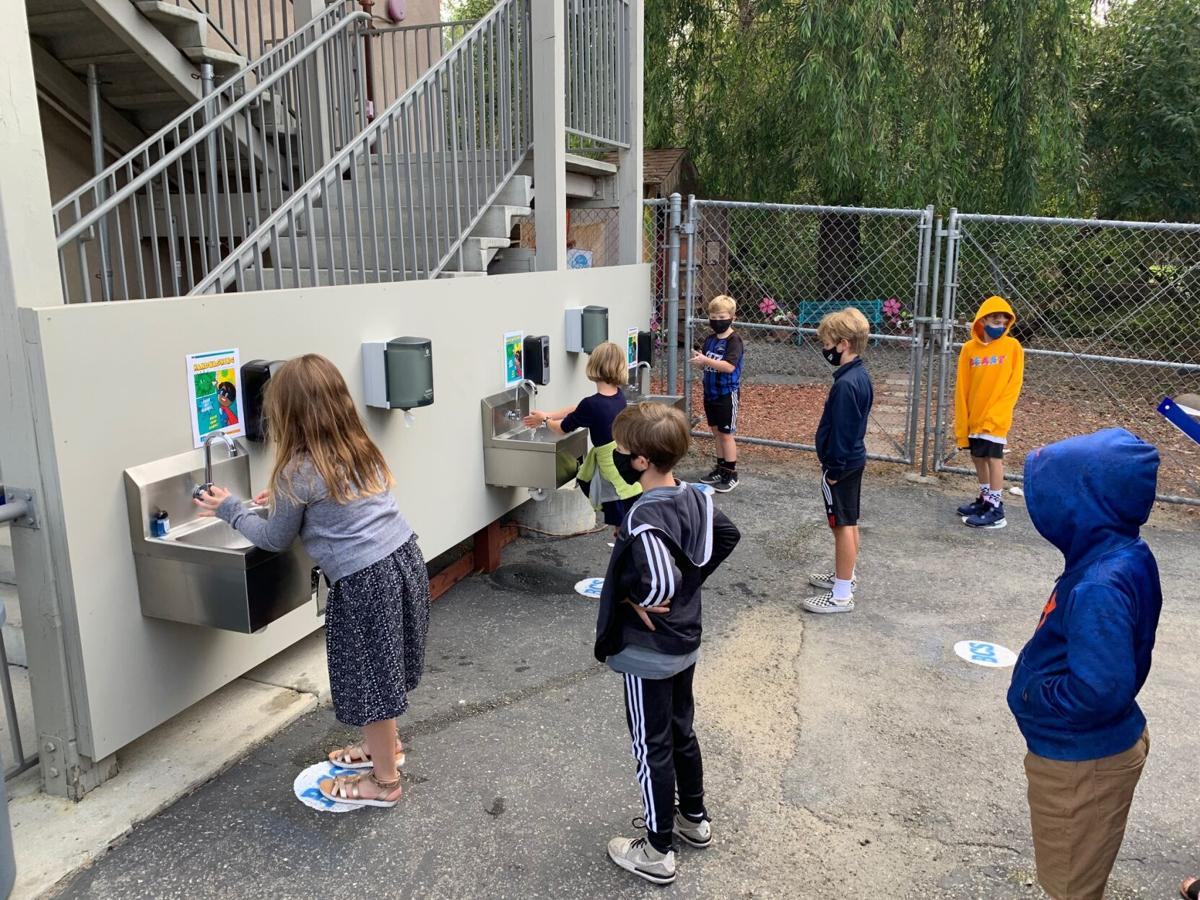 Outdoor hand wash stations.