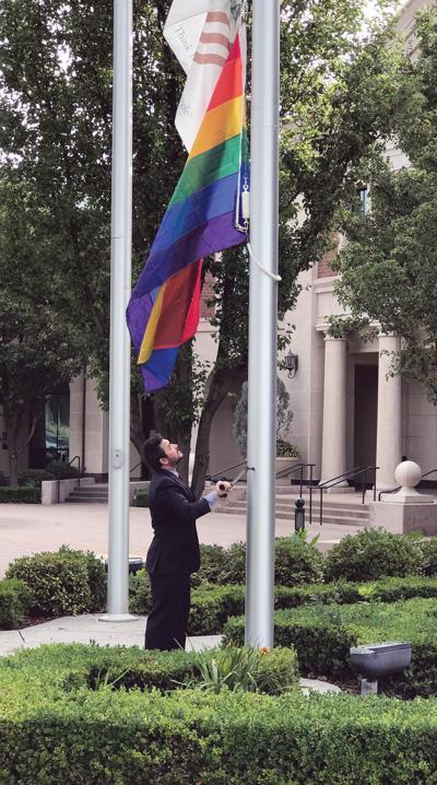 Pride flag raised outside City Hall