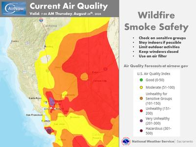 Air quality map US National Weather Service