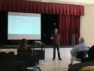 Michael Hanson, the SVHS principal, presents the new Career Exploration Program.