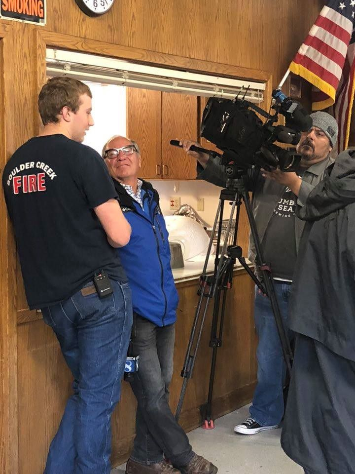 Andy Wise being interviewed by KSBW's Phil Gomez during Operation Turkey
