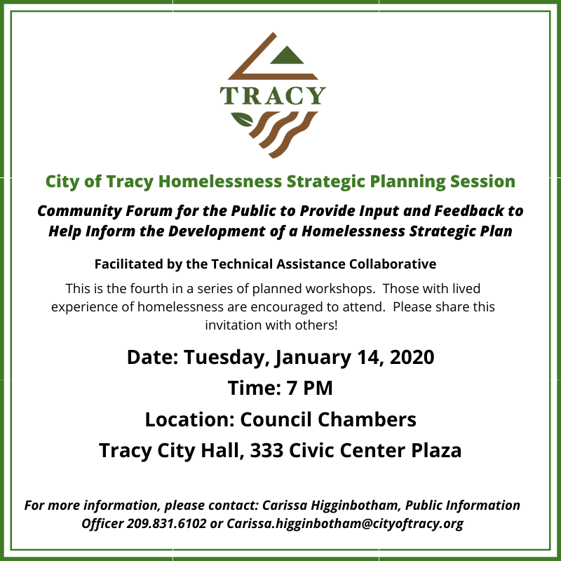 City of Tracy Homelessness Strategic Planning Session flyer