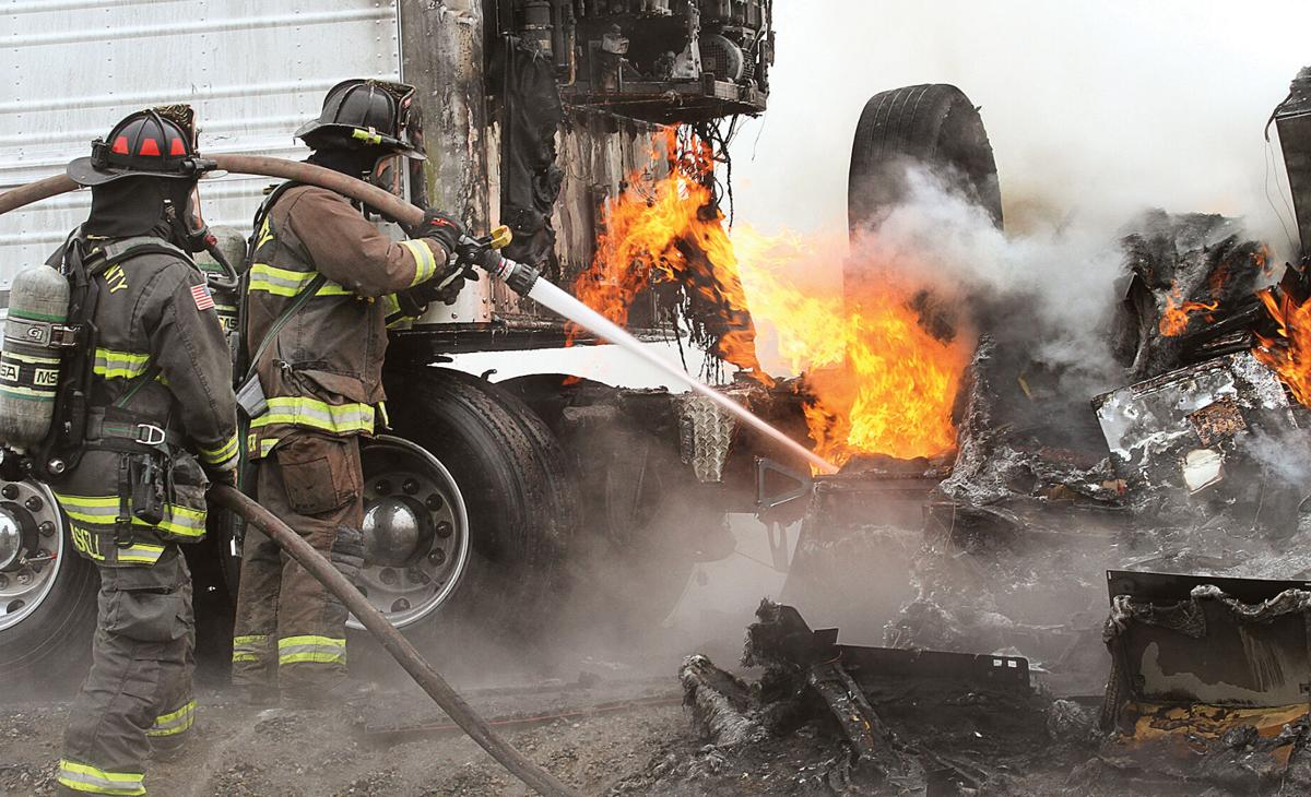 Truck destroyed in fire