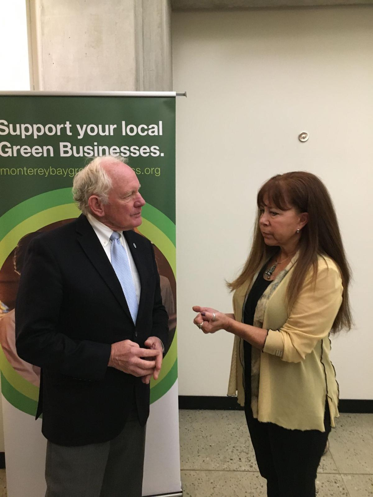 Donna Hawthorne Brunetti of Brunetti's Interiors chatting with Bruce McPherson, District Supervisor.