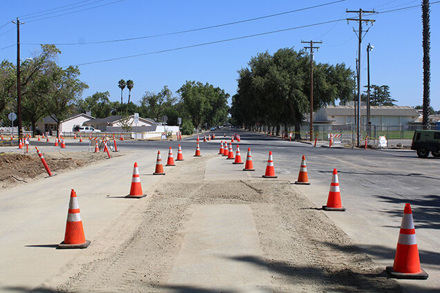 Five-way at North Seventh Street and Salado Avenue stop to get a roundabout
