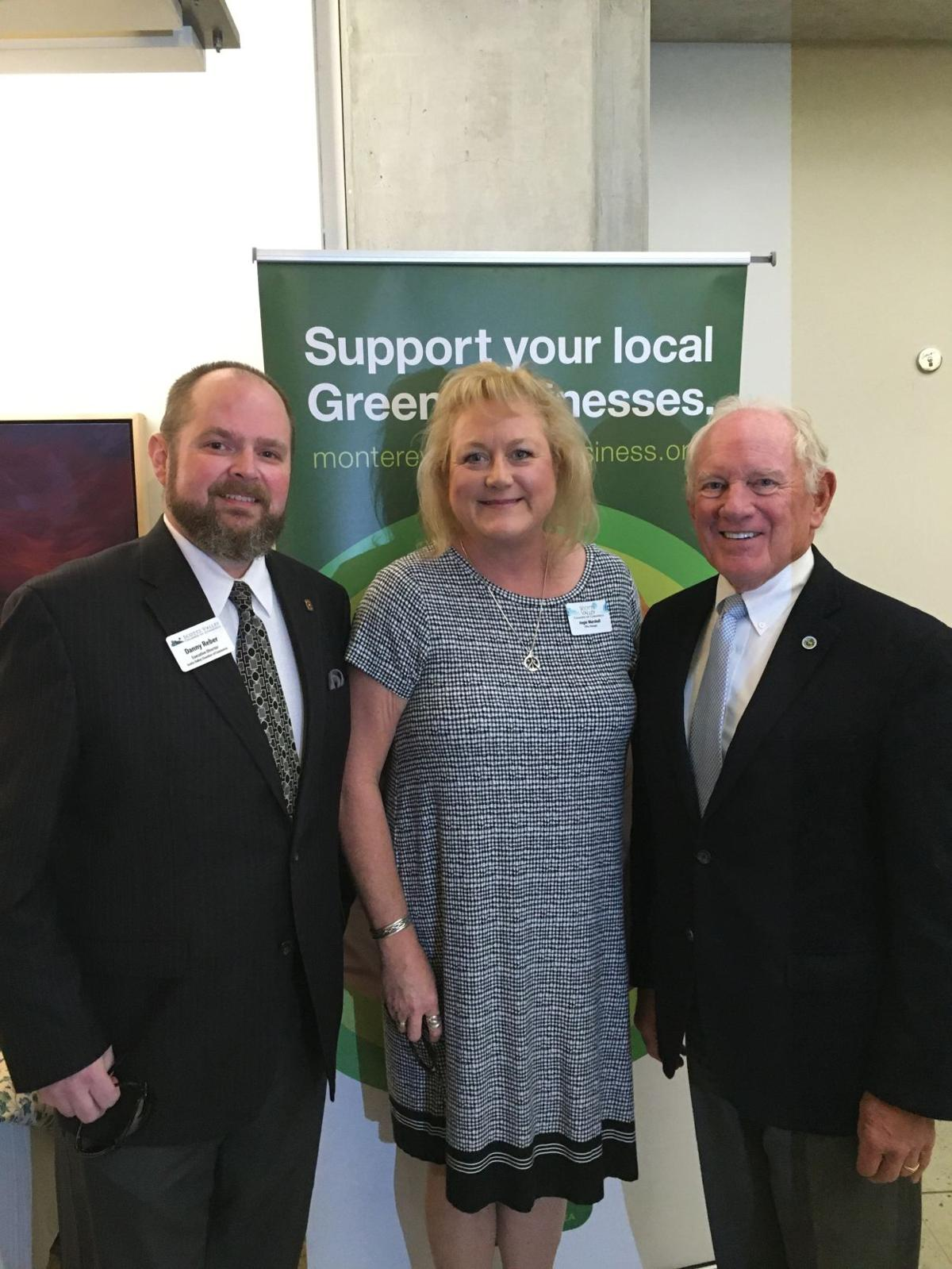 Danny Reber and Angela Marshall of the Scotts Valley Chamber of Commerce alongside District Supervisor, Bruce McPherson.
