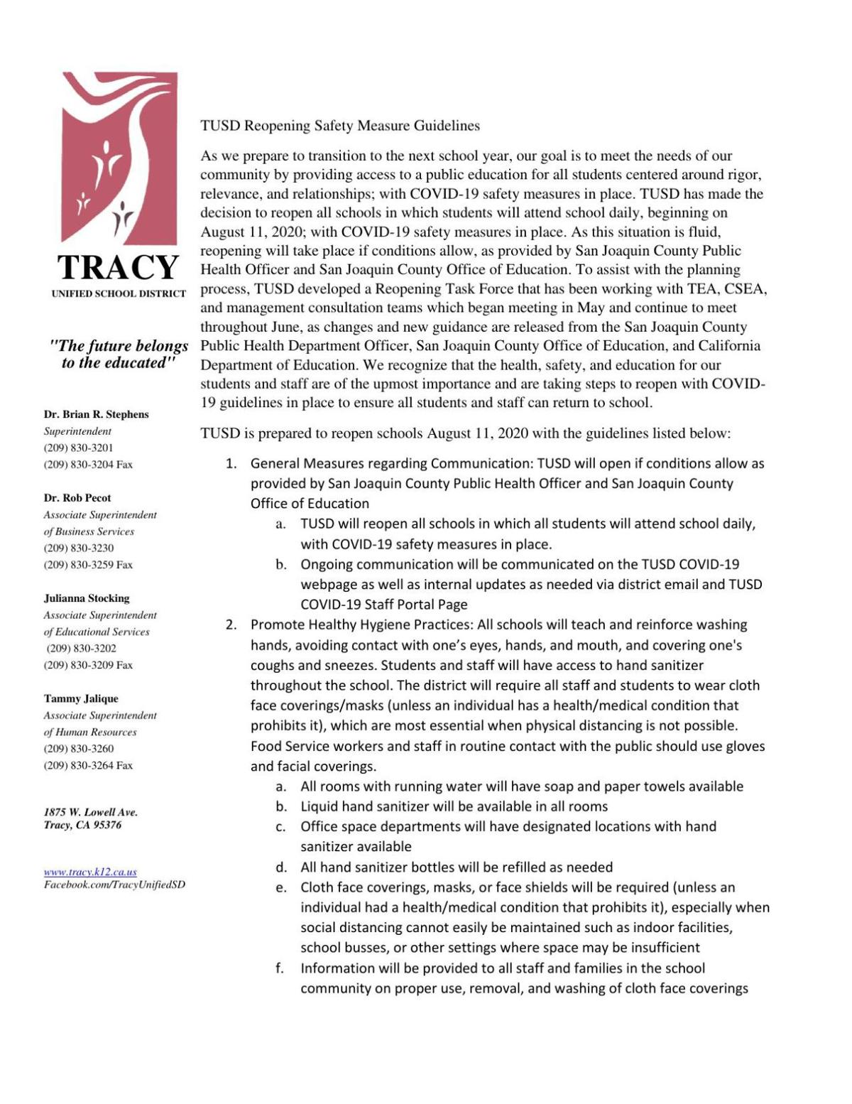 TUSD Reopening Safety Measure Guidelines