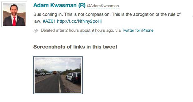 Screen cap of Kwasman's tweet on Tuesday morning