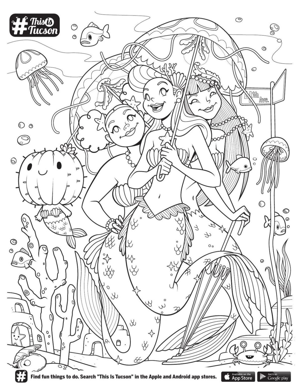 Mermaid cactus coloring page