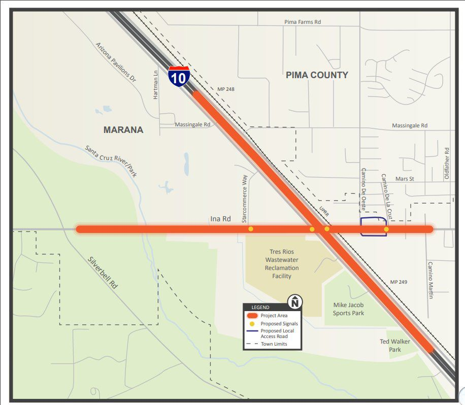 Map Of I 10 Arizona.Adot Crews To Restrict Travel During Work At I 10 Near Ina Road On
