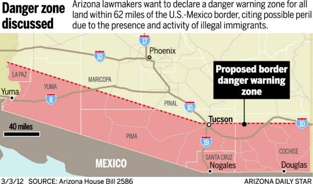 Map: Proposed border danger warning zone
