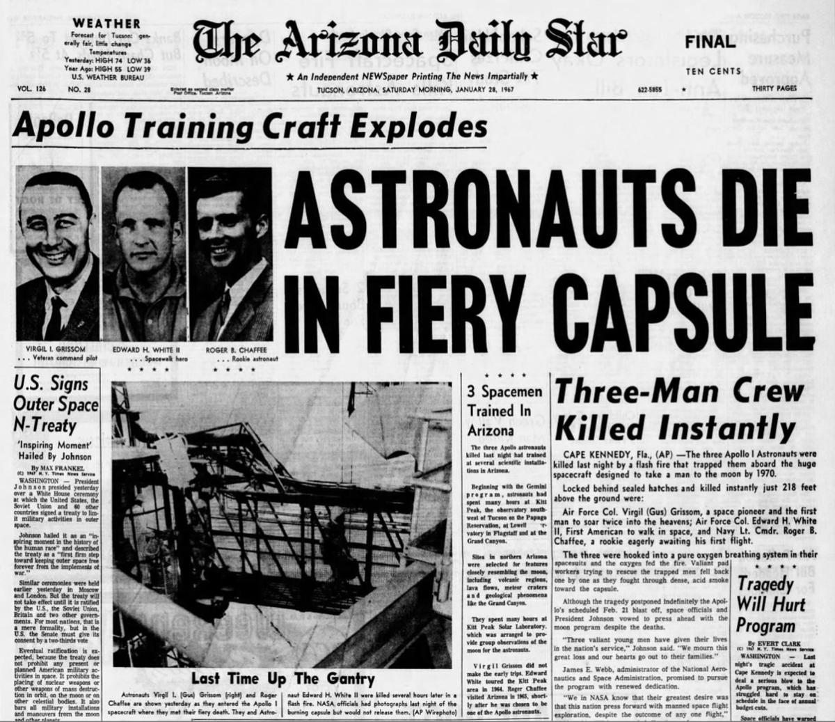 Image result for astronauts died in apollo one fire in 1967