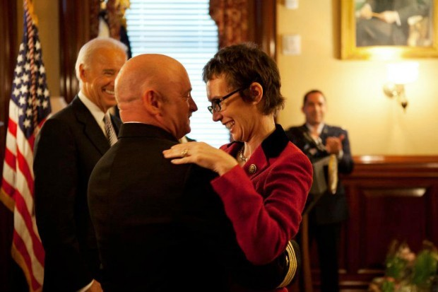 Rep. Giffords at Mark Kelly's retirement ceremony