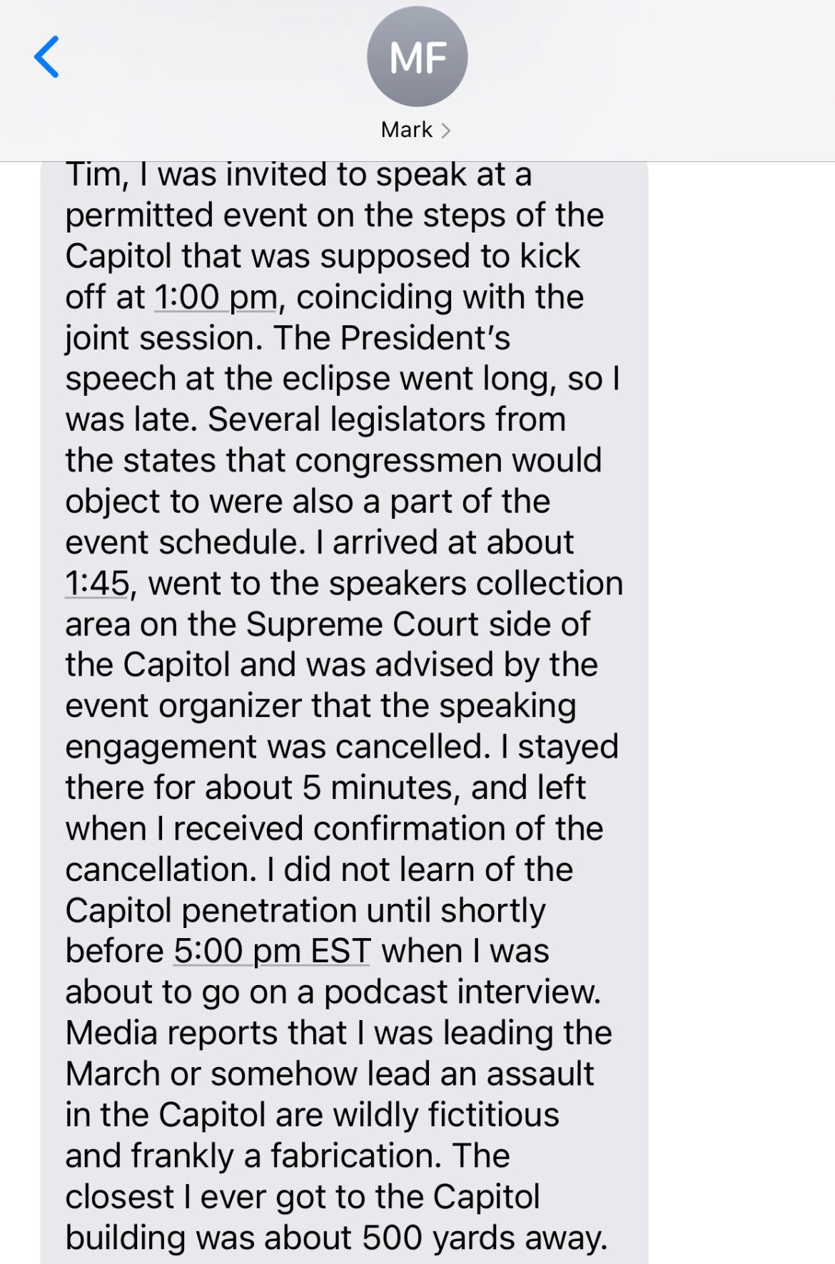 Finchem text explaining DC rally actions
