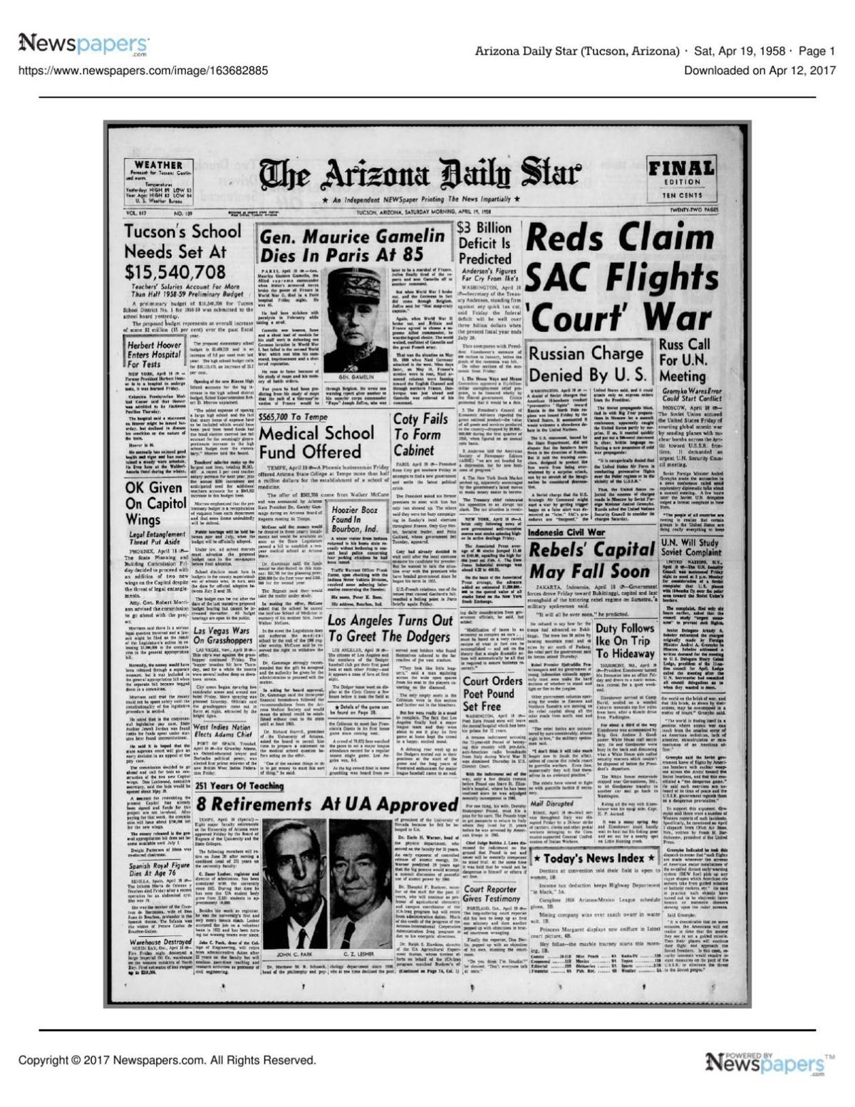 Arizona Daily Star front page April 19, 1958 pdf | | tucson com