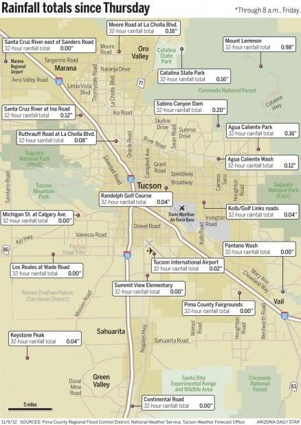Map Tucson Rainfall Totals Through 8 A M Friday Local News