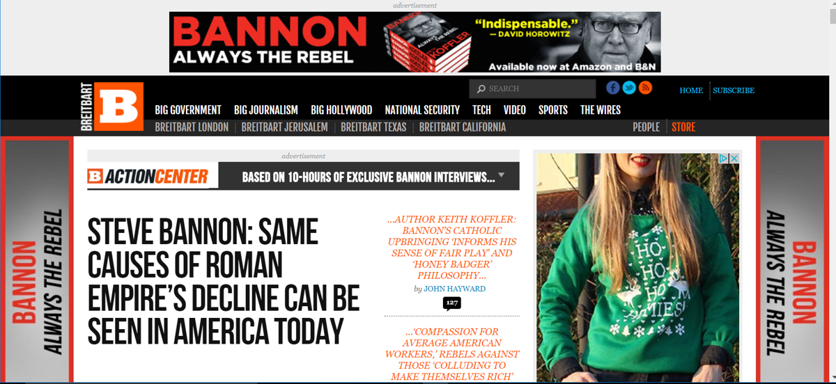 Breitbart News front page features Bannon book