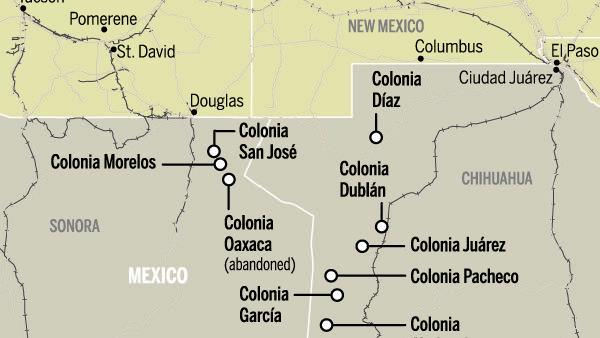 Map Mormon colonies in Mexico 1912   tucsoncom