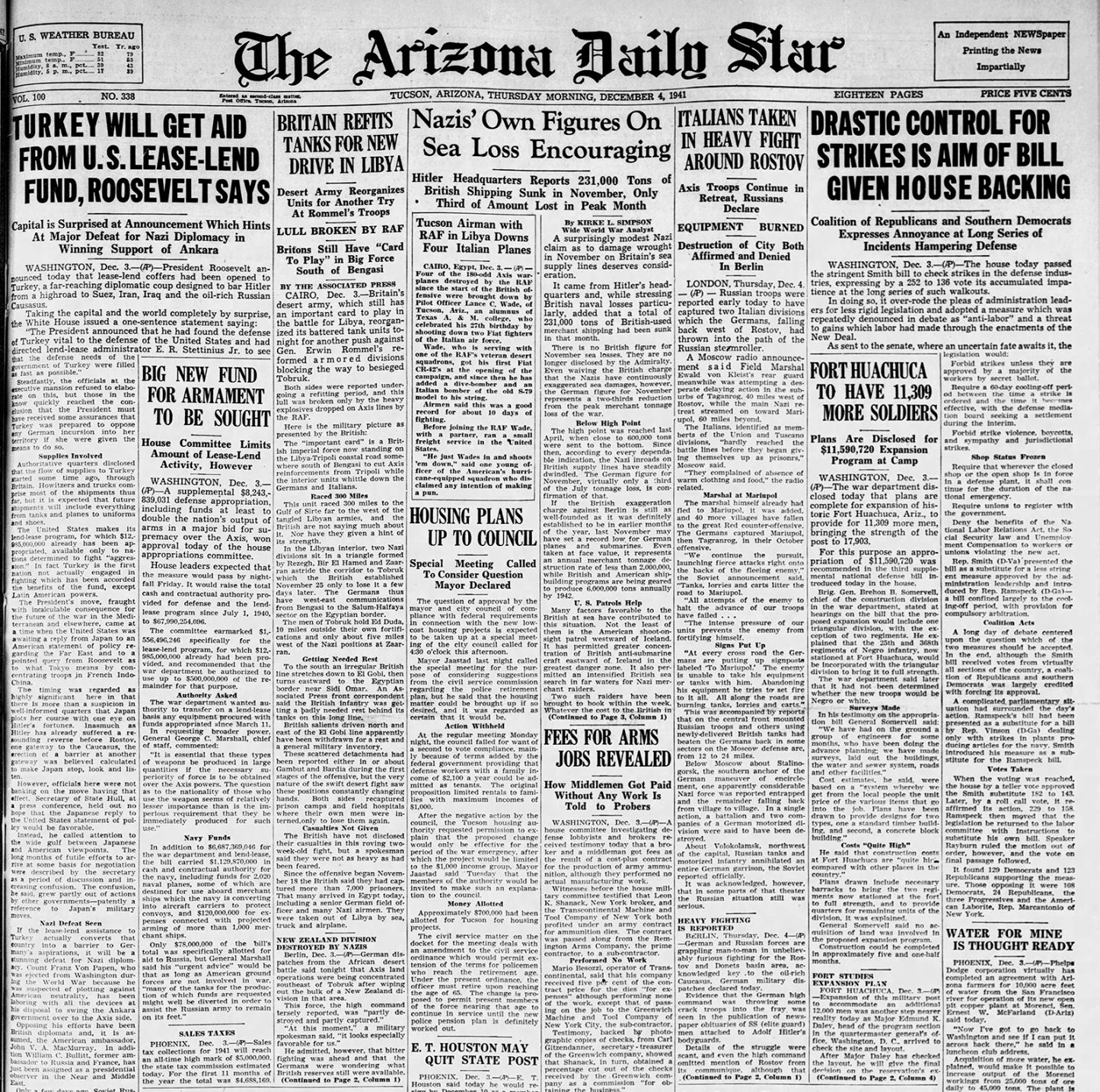Dec 4 Arizona Daily Star front pages First successful heart