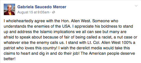 Saucedo Mercer's Facebook post