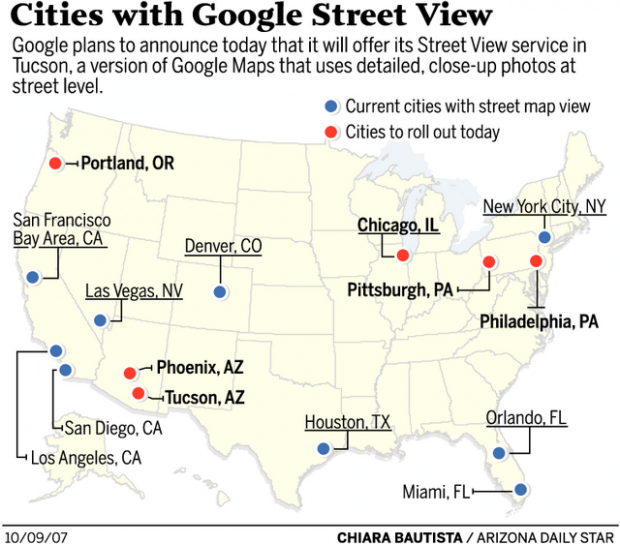 Interactive Map Of Arizona.Google Installs Tucson On The Interactive Map Business News