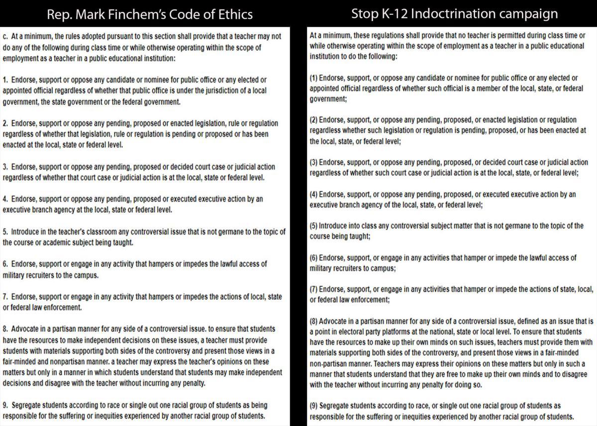 Rep. Mark Finchem's teacher code of ethics