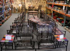 lawn art wrought iron furniture display.JPG