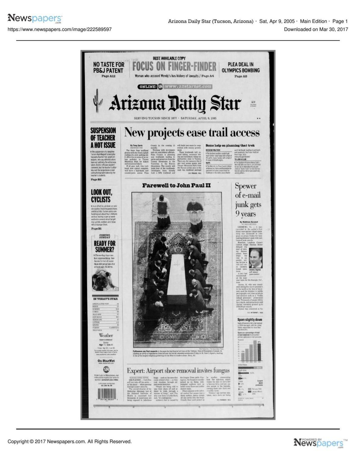 Arizona Daily Star front page April 9, 2005 pdf | | tucson com