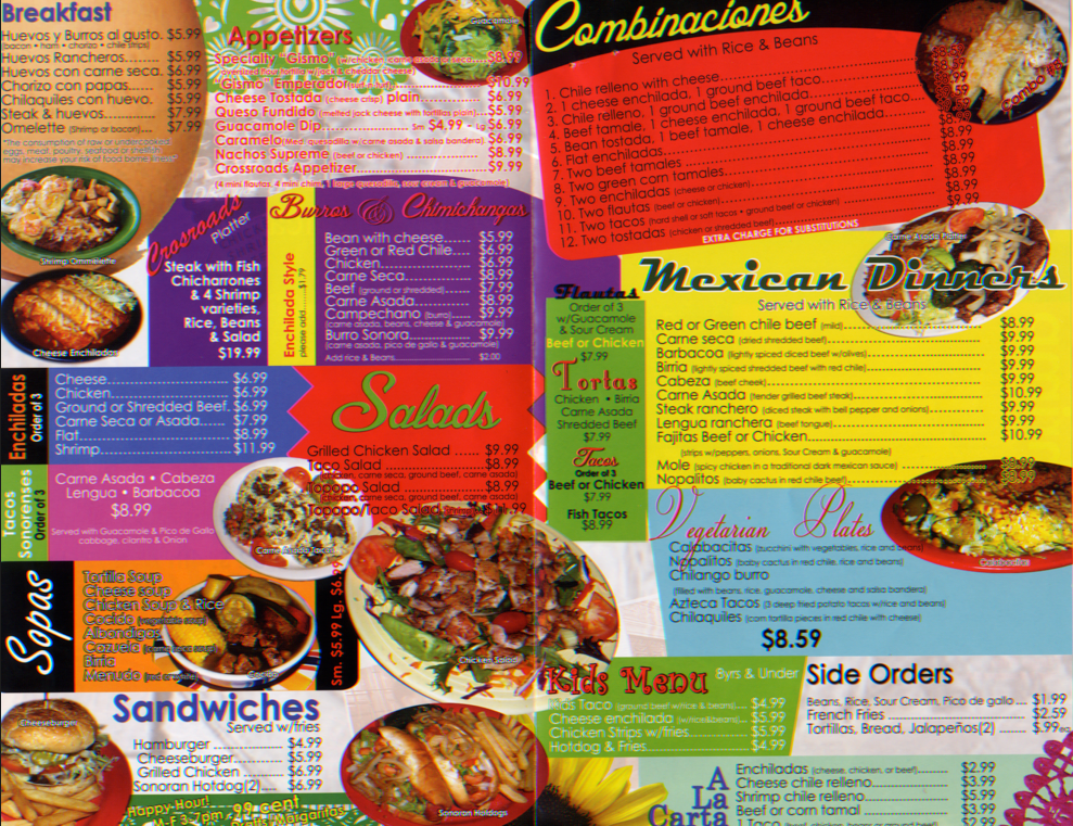 Crossroads Restaurant menu | | tucson com