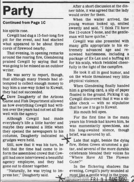 Aug. 30, 1990: Retirement party continuation