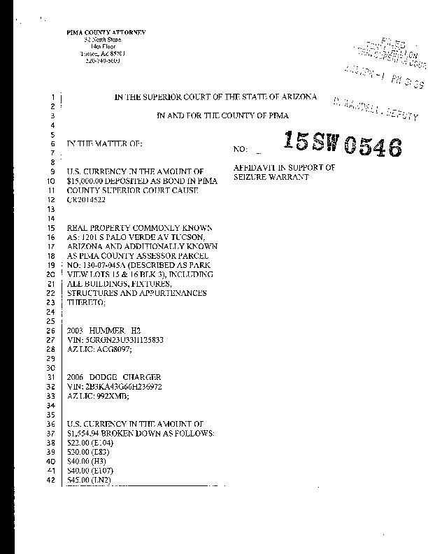 Search warrant affidavit     tucson.com