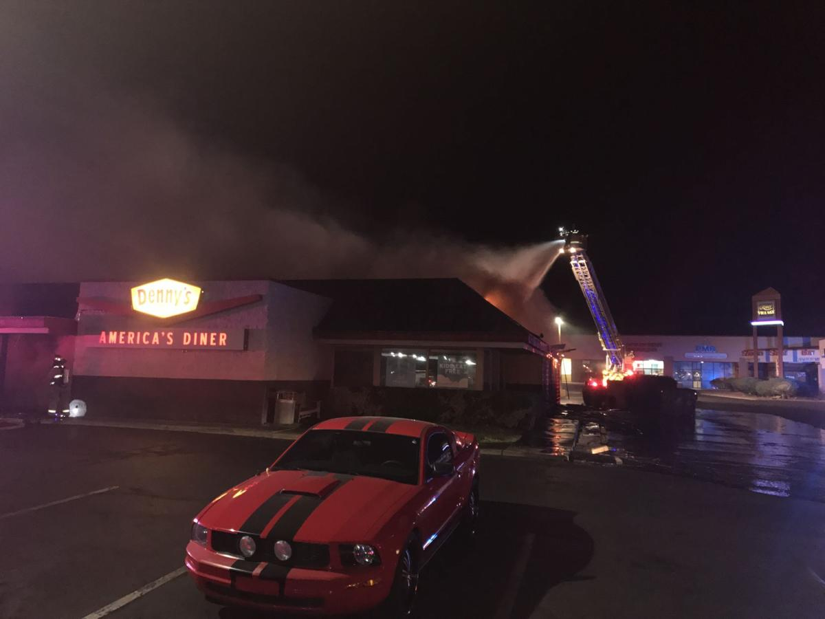 Denny's restaurant goes up in flames overnight