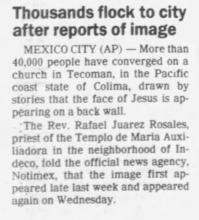May 31, 1992: Jesus on a brick wall in Mexico City