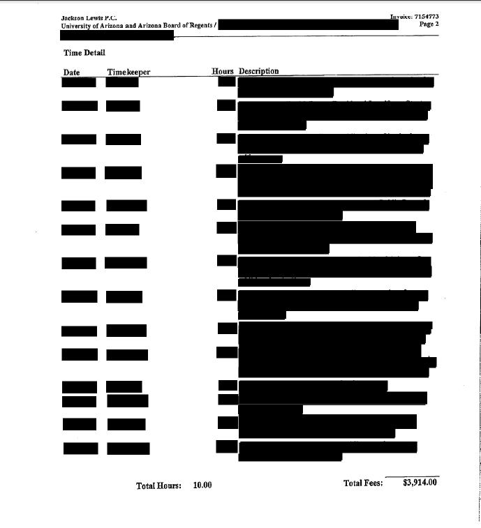 Redacted billing statement