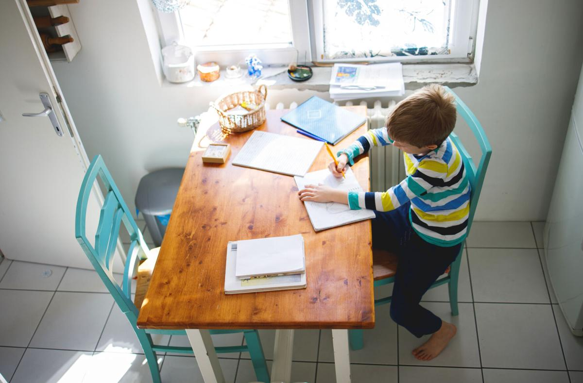 Boy doing homework, learning at home