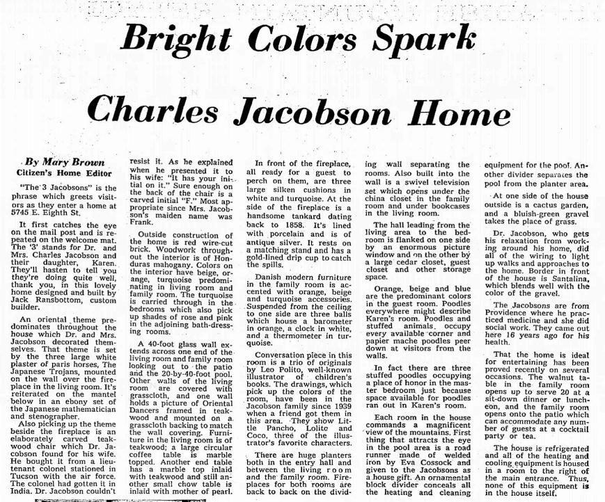 Tucson Citizen article April 7, 1962